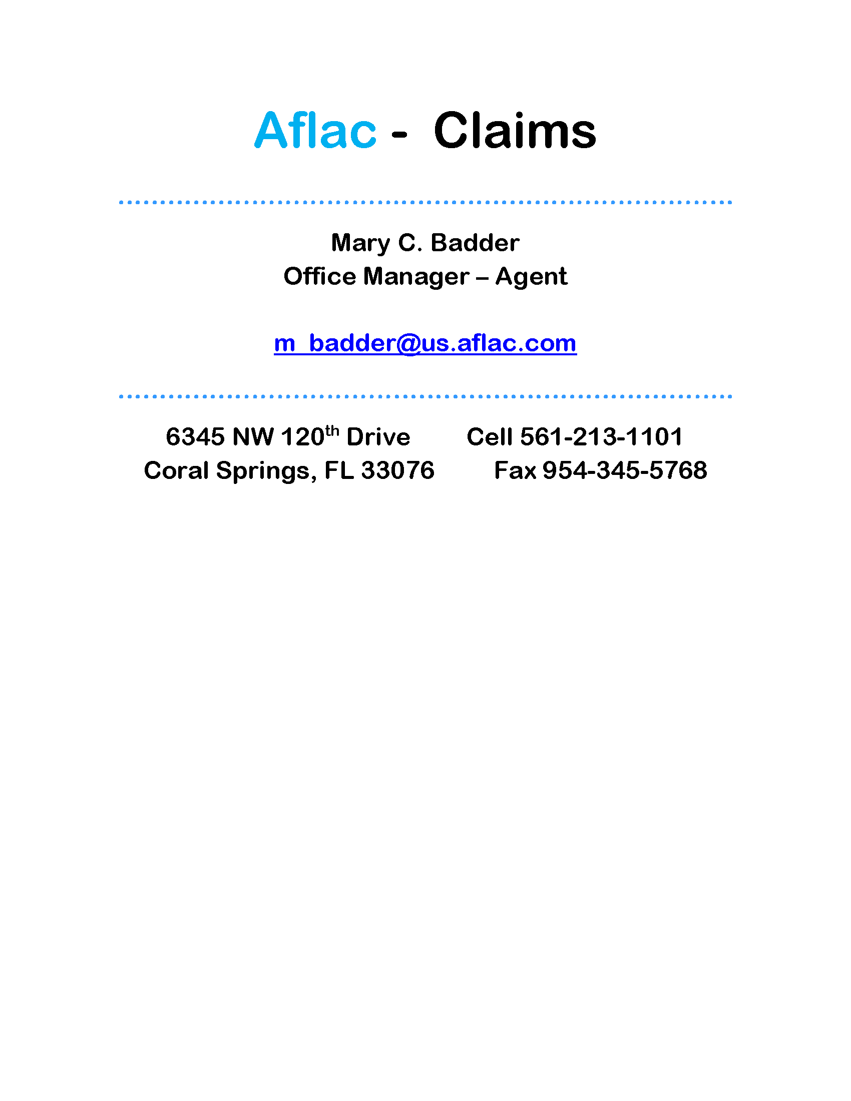 Employee Benefits Fund Forms – Aflac Claim Form